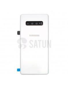 Tapa de batería Samsung Galaxy S10 Plus blanco ceramico frontal. GH82-18867B