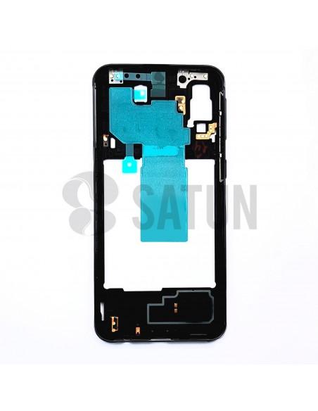 Carcasa intermedia Samsung Galaxy A40 negro frontal. GH97-22974A