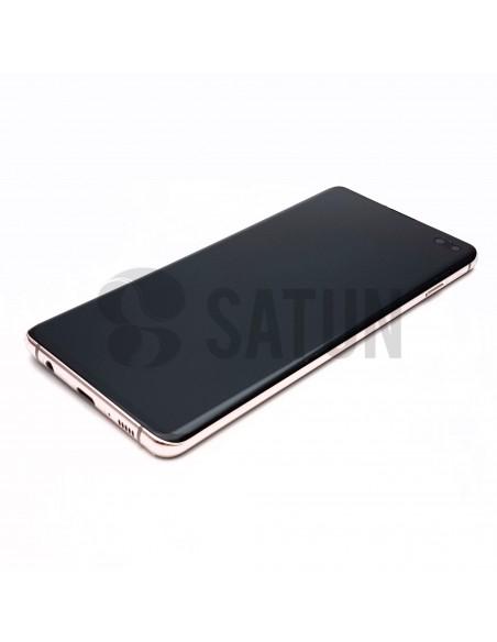 Pantalla Samsung Galaxy S10 plus blanco cerámico perspectiva. GH82-18834J