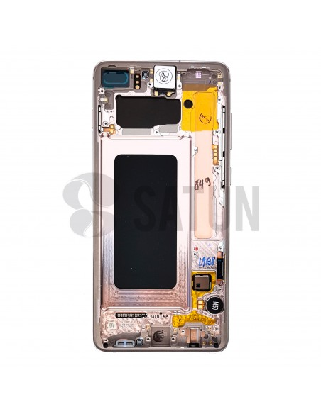 Pantalla Samsung Galaxy S10 plus blanco cerámico posterior. GH82-18834J