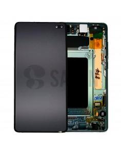 Pantalla con marco Samsung Galaxy S10 plus verde. GH82-18834E y GH82-18849E