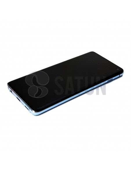 Pantalla Samsung Galaxy S10 azul perspectiva. GH82-18835C