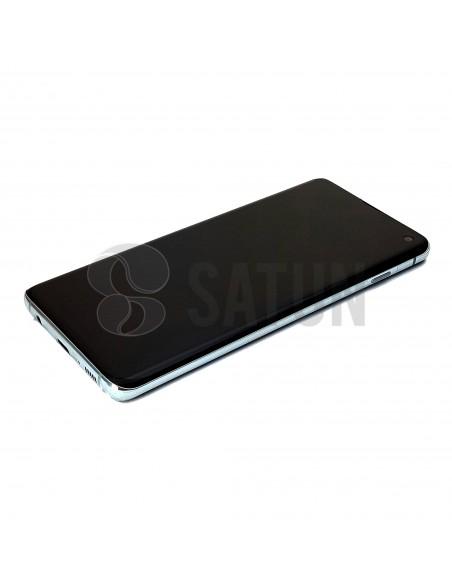 Pantalla Samsung Galaxy S10 verde perspectiva. GH82-18835E