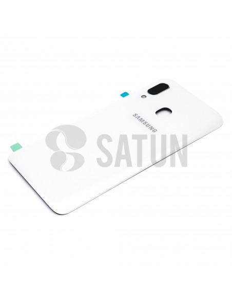 Tapa de batería Samsung Galaxy A40 blanco perspectiva. GH82-19406B