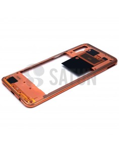 Carcasa intermedia Samsung Galaxy A50 naranja perspectiva. GH97-23209D