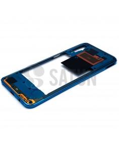 Carcasa intermedia Samsung Galaxy A50 azul perspectiva. GH97-23209C