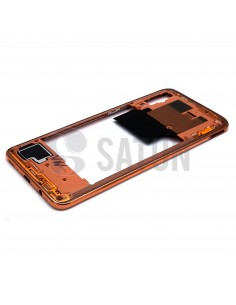 Carcasa intermedia Samsung Galaxy A70 naranja perspectiva. GH97-23445D