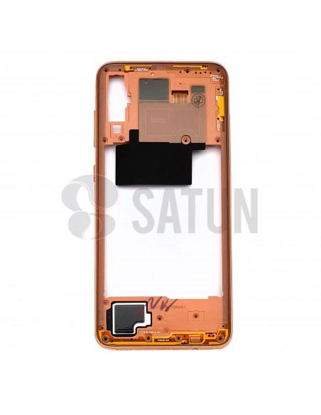 Carcasa intermedia Samsung Galaxy A70 naranja frontal. GH97-23445D
