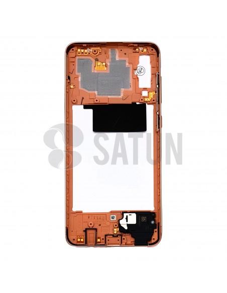 Carcasa intermedia Samsung Galaxy A70 naranja posterior. GH97-23445D