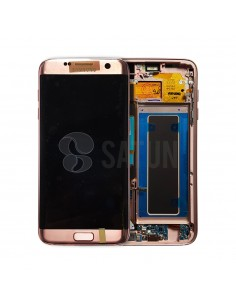 Pantalla con marco Samsung Galaxy S7 Edge rosa. GH97-18533E y GH97-18767E