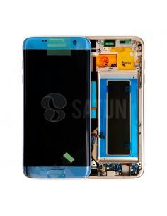 Pantalla con marco Samsung Galaxy S7 Edge azul. GH97-18533G y GH97-18767G