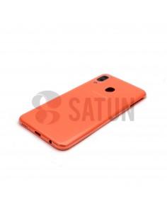 Carcasa trasera Samsung Galaxy A20e naranja vista en perspectiva. GH82-20125D