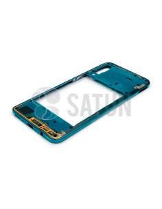 GH98-44765B. Carcasa intermedia Samsung Galaxy A30s verde en perspectiva.