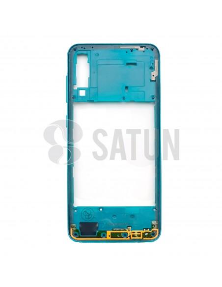 GH98-44765B. Carcasa intermedia Samsung Galaxy A30s verde frontal.