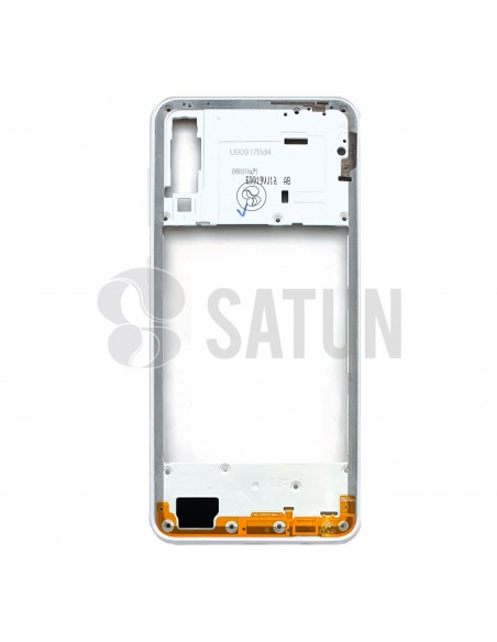 GH98-44765D. Carcasa intermedia Samsung Galaxy A30s blanco frontal.
