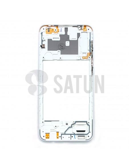 GH98-44765D. Carcasa intermedia Samsung Galaxy A30s blanco interior.
